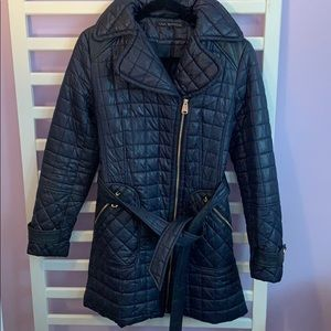 Via Spiga quilted navy blue belted coat size M
